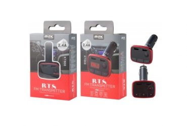 BLUETOOTH FM TRANSMITTER WITH MICROPHONE AND LED DISPLAY, TF / 2USB, RED