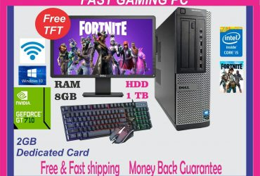 FAST DELL Gaming PC Quad Core i5 Computer SET Monitor 8GB 1TB 2GB GT710 Win 10